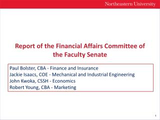 Report of the Financial Affairs Committee of the Faculty Senate