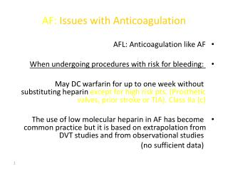 AF: Issues with Anticoagulation