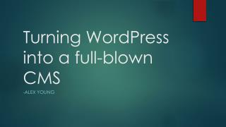 Turning WordPress into a full-blown CMS
