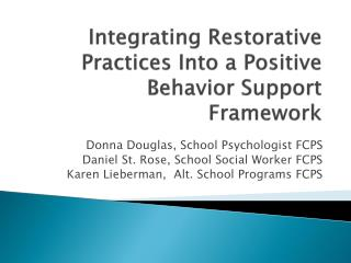 Integrating Restorative Practices Into a Positive Behavior Support Framework