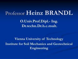 Professor Heinz BRANDL