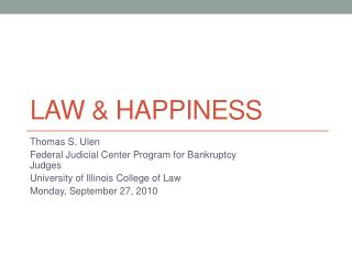Law & Happiness