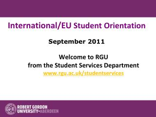 International/EU  Student Orientation September 2011