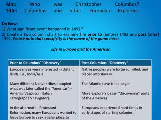 Aim:  Who was Christopher Columbus?  Title:  Columbus and other European Explorers.