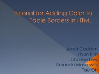 Tutorial for Adding Color to Table Borders in HTML
