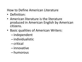 How to Define American Literature Definition: