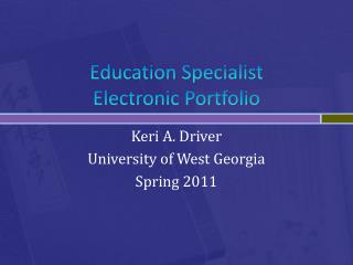 Education Specialist Electronic Portfolio