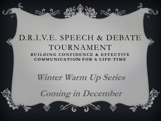 Winter Warm Up Series Coming in December