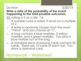 Homework – Worksheet