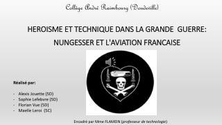 HEROISME ET TECHNIQUE DANS LA GRANDE  GUERRE: NUNGESSER ET L'AVIATION FRANCAISE