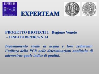 PROGETTO BIOTECH 1   Regione Veneto    LINEA DI RICERCA N. 14  Inquinamento virale in acqua e loro sedimenti: l utilizzo