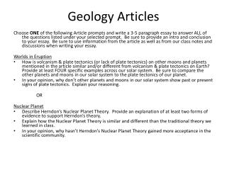 Geology Articles