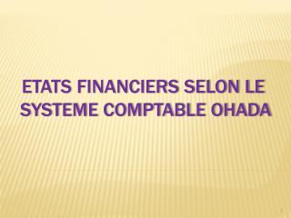 ETATS FINANCIERS SELON LE  SYSTEME COMPTABLE OHADA