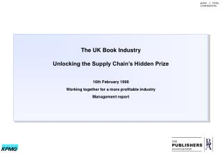 The UK Book Industry Unlocking the Supply Chain