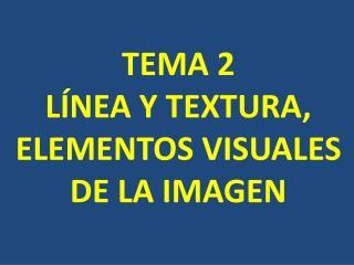 TEMA 2 LÍNEA Y TEXTURA,  ELEMENTOS VISUALES    DE LA IMAGEN