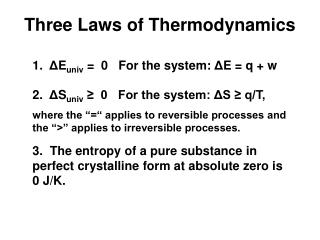 Three Laws of Thermodynamics