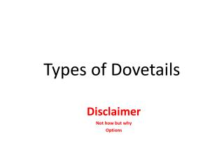 Types of Dovetails