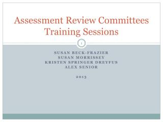 Assessment Review Committees Training Sessions