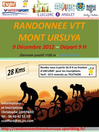 RANDONNEE VTT           MONT URSUYA 9 Décembre  2012  –  Départ 9 H