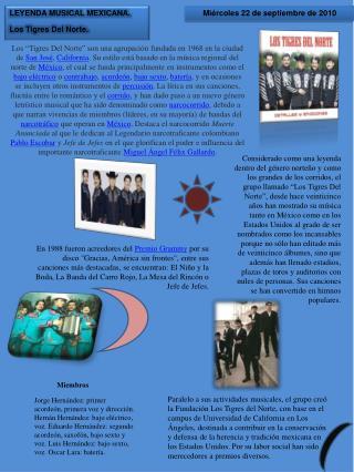 LEYENDA MUSICAL MEXICANA. Los Tigres Del Norte.