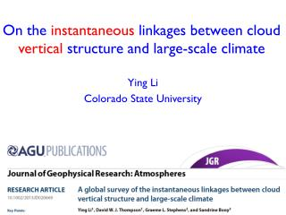 On the  instantaneous  linkages  between  cloud  vertical structure and  large -scale climate