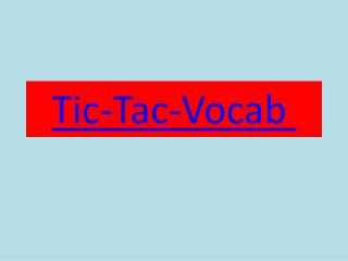 Tic-Tac-Vocab
