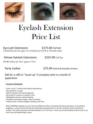 Eyelash Extension  Price List