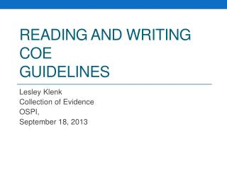 Reading and Writing  COE Guidelines
