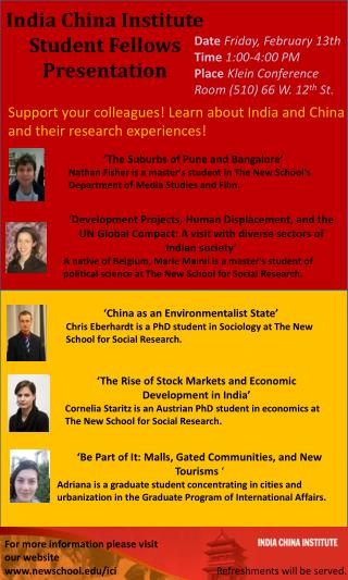 India China Institute Student Fellows Presentation