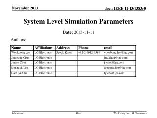 System Level Simulation Parameters