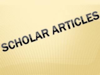 Scholar Articles
