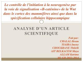 Analyse d'un article scientifique