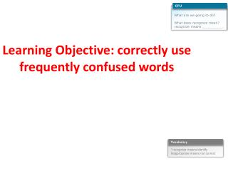 Learning  Objective : correctly use frequently confused words