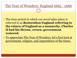 The Year of Wonders: England 1665 - 1666