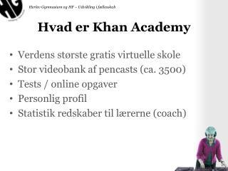 Hvad er Khan Academy