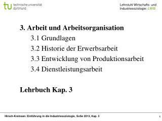 3. Arbeit und Arbeitsorganisation 3.1 Grundlagen 3.2 Historie der Erwerbsarbeit