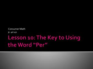 "Lesson 10: The Key to Using the Word ""Per"""