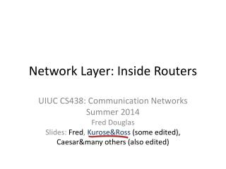 Network Layer: Inside Routers