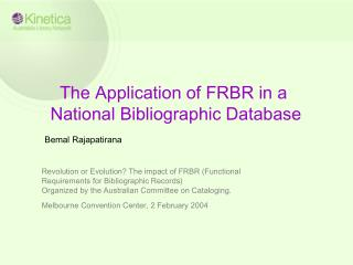 The Application of FRBR in a  National Bibliographic Database