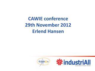 CAWIE conference  29th November 2012  Erlend Hansen