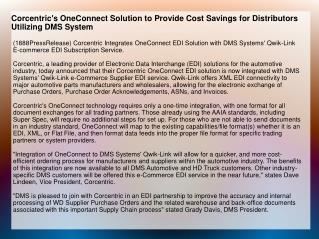 Corcentric's OneConnect Solution to Provide Cost Savings for