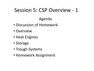 Session 5: CSP Overview - 1