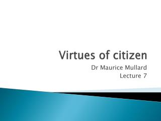 Virtues of citizen