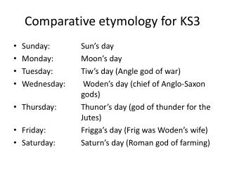 Comparative etymology for  KS3