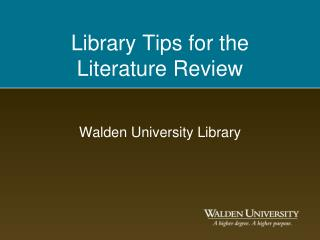 Library Tips for the  Literature Review