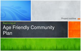 Beginning an Age Friendly Community Plan