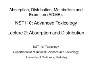 NST110: Advanced Toxicology