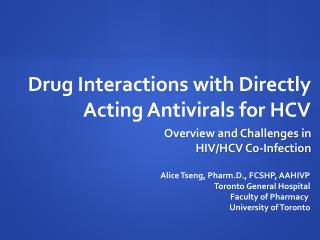 Drug Interactions with Directly Acting Antivirals for HCV