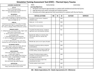 Simulation Training Assessment Tool (STAT ) – Thermal Injury Trauma