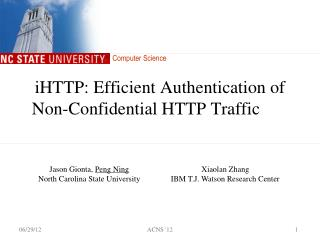 iHTTP: Efficient Authentication of  Non-Confidential HTTP Traffic